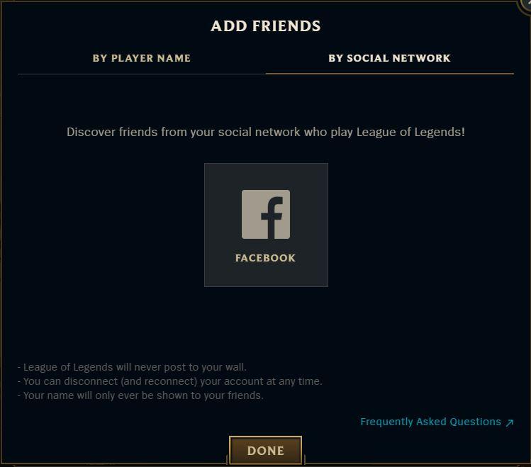 add friends facebook league of legends