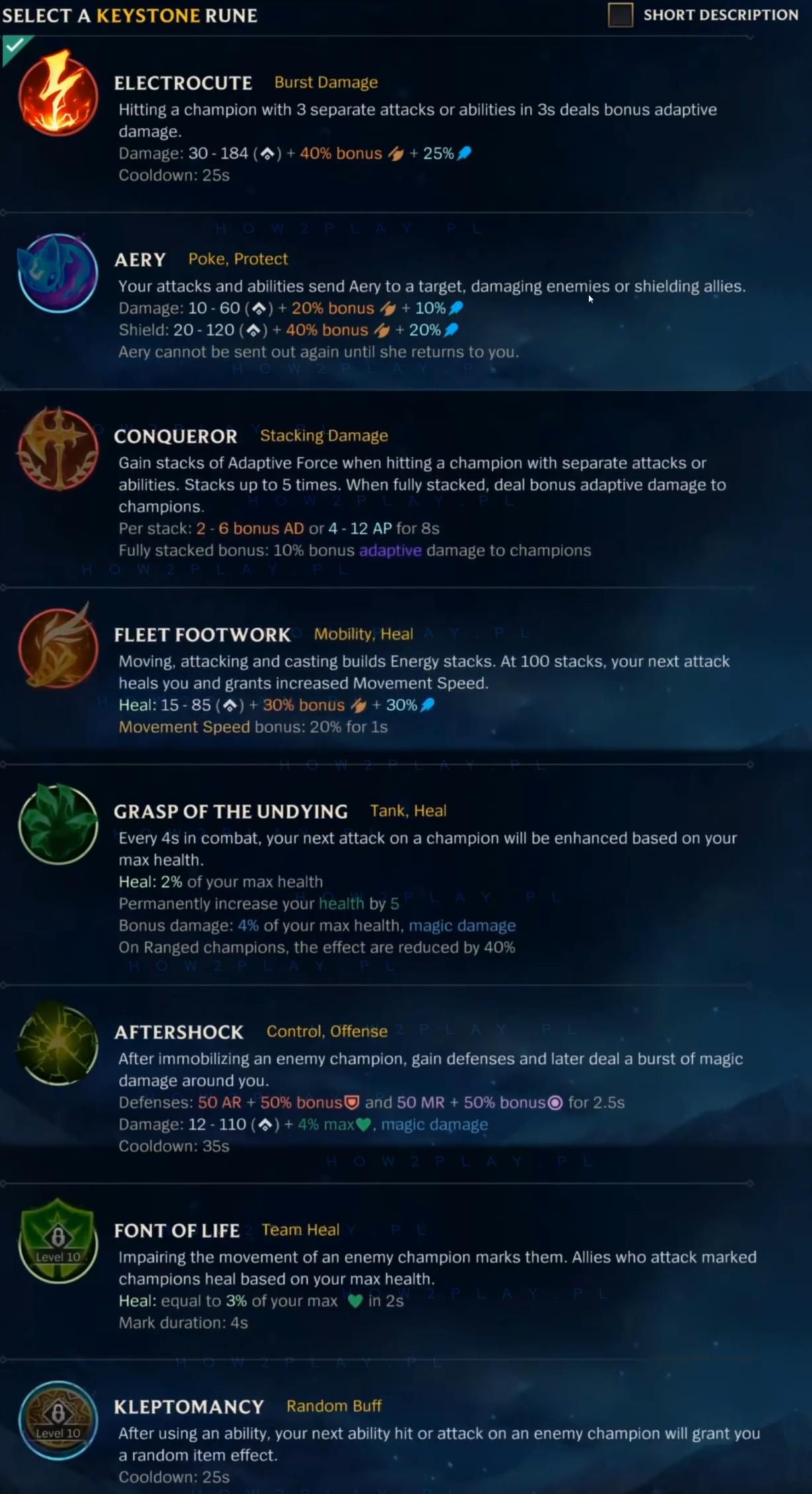 League of Legends: Wild Rift - keystone runes / kluczowe runy