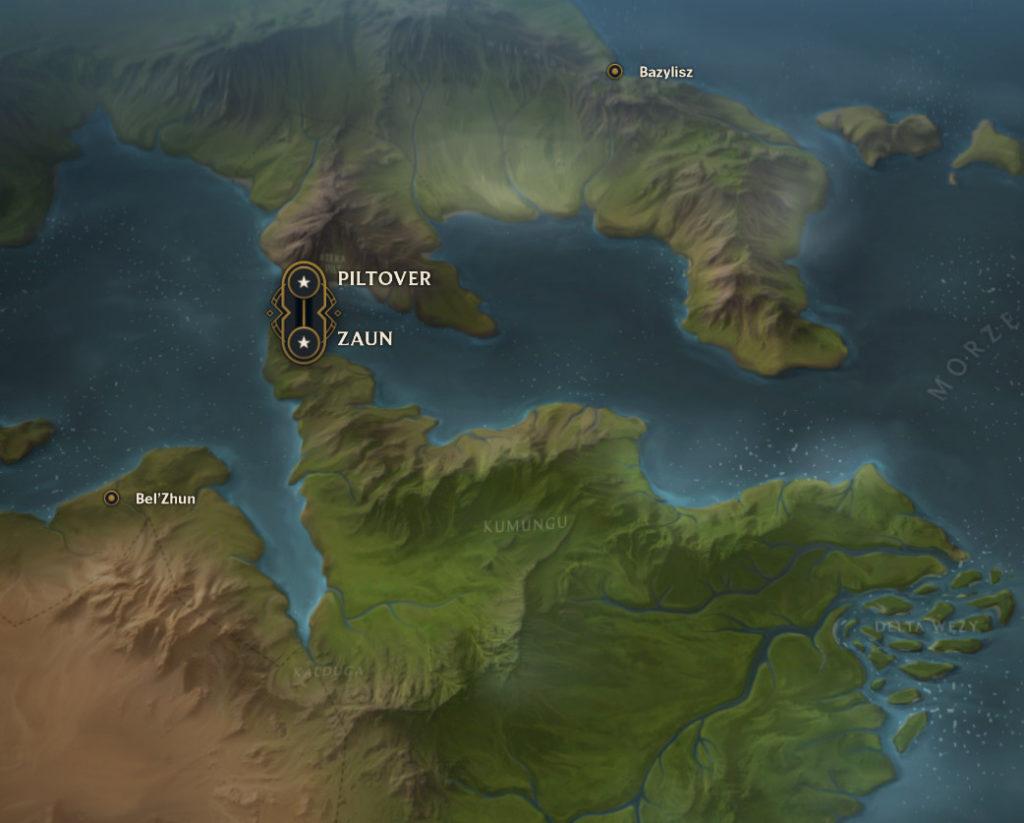 League of Legends / Runeterra / mapa świata. Piltover i Zaun. Na południu Kumungu.