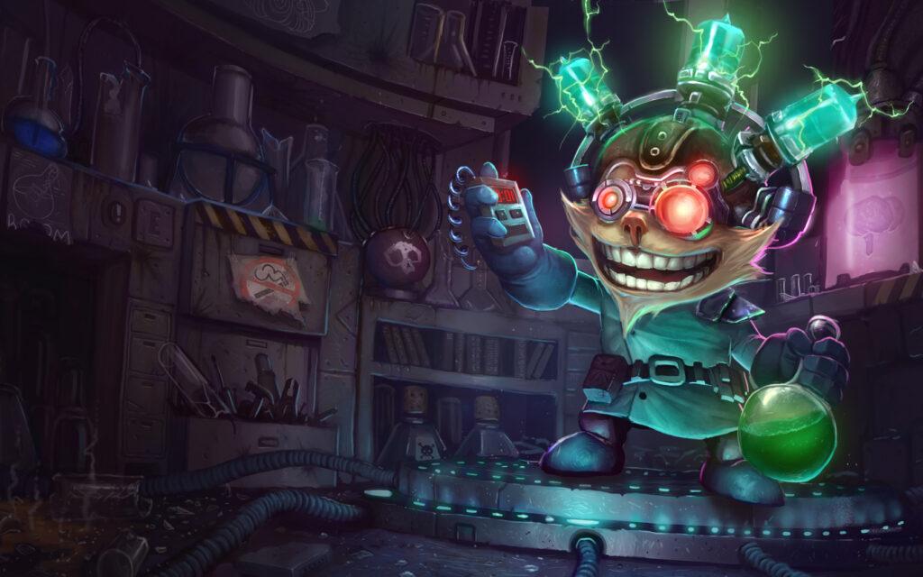 Mad Scientist Ziggs splash art HQ (League of Legends / Riot Games)